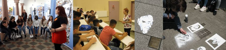 Schülerinnen der WLS erklären die Anne-Frank-Ausst. | Zeitzeugin | Stolpersteine
